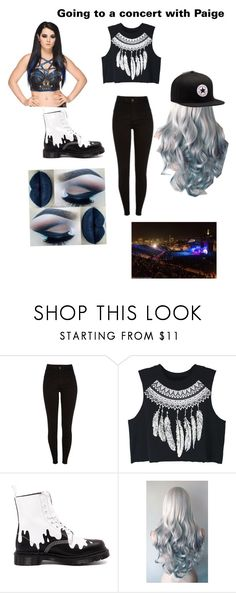 """Going to Concert With Paige"" by baileyxxwwe ❤ liked on Polyvore featuring beauty, WithChic, Dr. Martens and Converse"