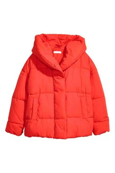 Padded jacket with a hood - Bright red - Ladies | H&M GB