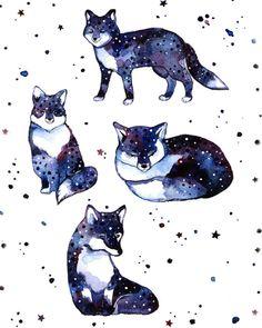 Fox Print Nursery Art Fox Watercolor Print от LullabyForFox