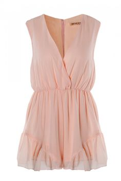 Light pink romper with ruffle details