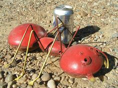 Recycled Junk Iron Garden art metal FIRE Ant RED Yard decor