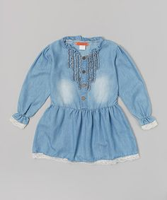 This Denim Lace Button Dress - Toddler & Girls by Funkyberry is perfect! #zulilyfinds