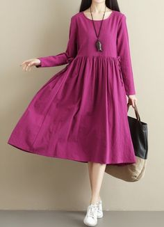 Women loose fit pocket dress maxi tunic drawstring long sleeve large size chic #Unbranded #dress #Casual