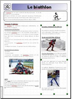 Plusieurs textes informatifs sur les différents sports olympiques. Core French, French Classroom, Cycle 3, Reading Activities, Winter Olympics, Jaba, Olympic Games, Kids Learning, Skiing