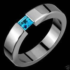 Tension Set Titanium & Blue Topaz Ring Custom Made Titanium Rings For Men, Titanium Blue, Titanium Metal, Tension Ring, Back In The 90s, Belly Button Jewelry, Premier Designs Jewelry, Jewelry Design, Blue Topaz Ring