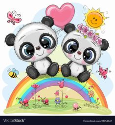 Cartoon Pandas are sitting on the rainbow. Two Cute Cartoon Pandas are sitting on the rainbow stock illustration Cartoon Cartoon, Cute Cartoon Drawings, Disney Cartoon Characters, Cute Cartoon Animals, Cute Animals, Panda Kawaii, Niedlicher Panda, Cute Panda, Panda Wallpapers