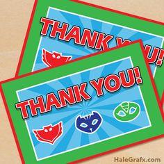 FREE Printable PJ Masks Thank You Card Pj Masks Printable, Thank You Printable, Free Thank You Cards, Free Printables, Birthday Cake Kids Boys, Birthday Thank You, 3rd Birthday Parties, Birthday Ideas, Kids Party Themes