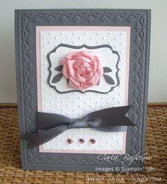 3/13/2011; Carla at 'Carla's Scraps' blog; link to make Ribbon Rose; love the color combo!