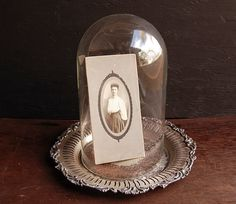 Glass Display Cloche & Silver Tray Base