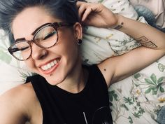 """floral-queer: """"Back at it again with the big grins 🌸 Ig: whitlindq """" Silver Hair Tumblr, Girls With Glasses, Floral, Big, Girls In Glasses, Silver Hair, Flowers, Flower"""