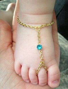Items similar to Gold Baby Slave Anklet - Blue Rhinestone on Etsy Baby Jewelry, Jewelry Tags, Kids Jewelry, Bridal Jewelry, Gold Jewellery Design, Gold Jewelry, Quartz Jewelry, Jewlery, Baby Schmuck