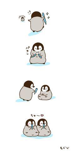 Hehehe dis so cuuute Cute Animal Drawings, Kawaii Drawings, Cute Drawings, Penguin Art, Penguin Love, Cute Disney Wallpaper, Cartoon Wallpaper, Penguin Pictures, Cute Pictures