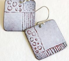 Enamel Earrings OOAK White Sgraffito by CynthiaDelGiudice