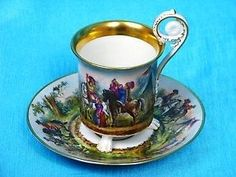 KPM Berlin antique cup Lupe painting royal soldiers c 1834 stunning 5000 euro