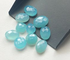 10 Pcs Blue Chalcedony Mix Shape Faceted Stones by gemsforjewels
