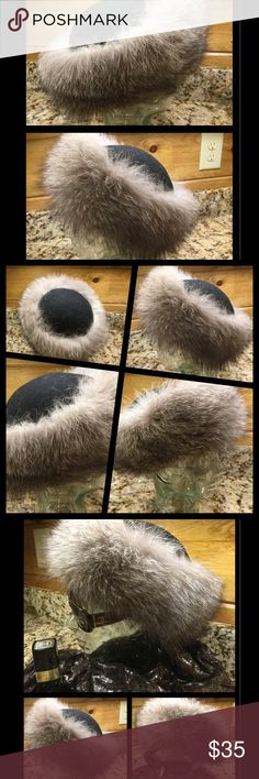 La Flamme Wide Brim Silver/ Black Fox Fur Hat Med. Gorgeous, preowned, La Famme, silver and black, fox fur trimmed hat. It fits a medium size head. The fur is authentic, not faux, and is beautiful. The band is attached to a rich, thick, black, felt like fabric. The hat is in excellent condition. It does have embroidered initials on a tab attached to the band. See pictures. No holds or trades. Use offer button, please. Offers encouraged. From smoke free home with pets. la Flamme Accessories…