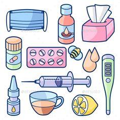 Buy Medicines and Medical Objects Set. Medicines and medical objects set. Treatment of cold and flu. Cute Food Drawings, Cute Kawaii Drawings, Kawaii Doodles, Cute Doodles, Kawaii Stickers, Cute Stickers, Drawing Anime Clothes, Object Drawing, Aesthetic Stickers