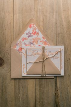 Luxury Wedding Invitations, Letterpress Printing, Kraft and Coral, Floral and Twine Details, Rustic, Nicole Suite, Just Invite Me