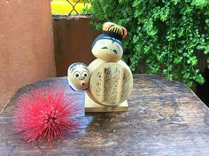 Japanese Funny Hyottoko And Okame Kokeshi Doll