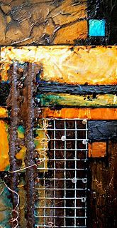 Carol Nelson FINE ART BLOG: RECYCLED, 9081, abstract collage with recycled materials