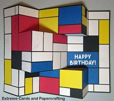 Extreme Cards and Papercrafting: Mondrian Tri-Shutter Birthday Card