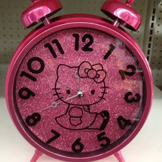 Glittery HK clock; considering teaching Chels to use an alarm.