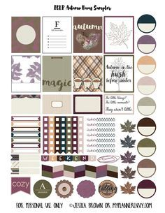 Free Printable Autumn Bonus Sampler Stickers for the Erin Condren Life Planner {also available for the Happy Planner}