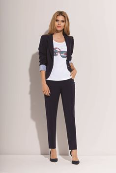 small black jacket and trousers, funny blouse
