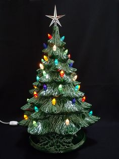 vintage style ceramic christmas tree 19 inch lights not glued in by darkhorsestore on etsy - Ceramic Christmas Lights