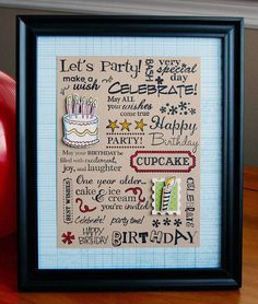 Subway birthday art - can be used for other themes. by Patti from Fiskars design team