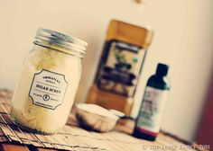 Vintage Homemade Sugar Scrub  use sugar and olive oil (2:1 ratio) and add peppermint essential oil... (The peppermint is strong enough to cover the smell of the olive oil but other oils might not be.) This website has recipes for several other homemade scrubs, too. www.tipjunkie.com... Great idea for a shower gift!