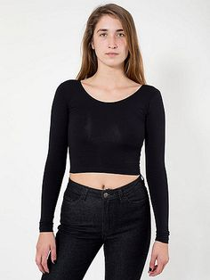 Cotton Spandex Jersey Long Sleeve Crop Top; Black