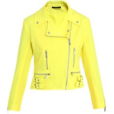 Christopher Kane Neon biker jacket ($781) ❤ liked on Polyvore featuring outerwear, jackets, tops, yellow, coats, wool moto jacket, wool biker jacket, motorcycle jackets, neon motorcycle jacket and yellow motorcycle jacket