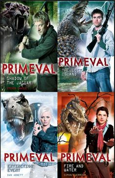 Primeval Books w/ Cover versions  that I have. I have all the books, will be reading over the summer!