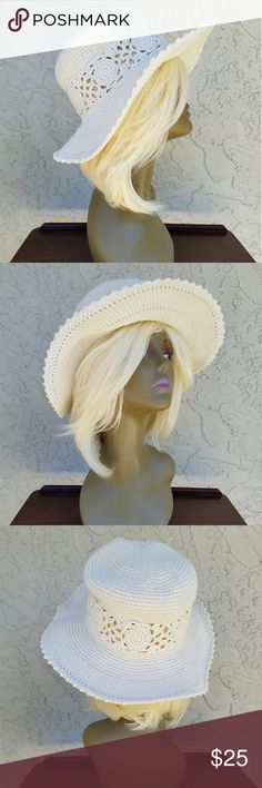 Crochet Floppy Floral Bucket Hat **PLEASE REFER TO MEASUREMENTS TO ENSURE PROPER FIT**  Crochet Summer Hat with crochet flowers encompassing the hat.  Brim measures 3.75 inches wide. Hat measures 3.5 inches high by 6.5 inches diameter. Accessories Hats