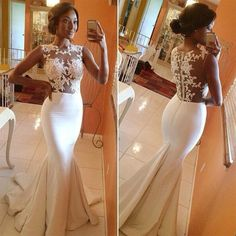 White Lace Mermaid Formal Prom Wedding Bridesmaid Party Gowns Evening Long Dress