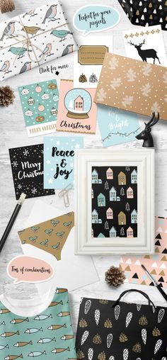 My Nordic Christmas collection of seamless patterns, greeting cards, journaling cards and graphic elements. Selling on Creative Market 14$ #Christmas, #patterns