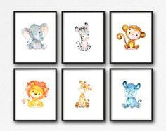 Animals Nursery Art, Printable Jungle Animals Nursery Decor, Lion Giraffe Elephant Monkey Rhino Zebra Nursery Art, Set of 6 Instant Download