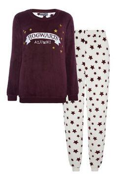Hogwarts-pyjama van fleece met sterren