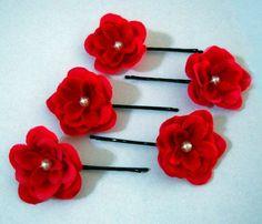 Red wedding hair bridal hair pin hair pins flowers Swarovski pearl
