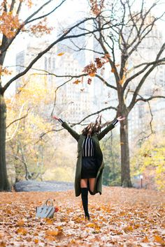 Autumn in Central Park :: Green coat & High boots :: Outfit ::  Top :: Veronica Beard coat, Forever 21 top Bottom :: Pierre Balmain Shoes :: Stuart Weitzman Bag :: Celine Accessories :: Karen Walker sunglasses, Tiffany & Co rings Published: November 30, 2016