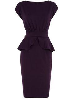 Purple ponte peplum dress