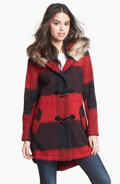 BB Dakota Faux Fur Trim Buffalo Plaid Anorak (Online Only) available at #Nordstrom