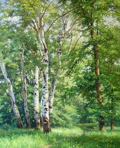 Beautiful birches - Kirichenko Gennadiy painting (oil) #tree #art #landscape