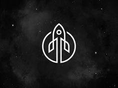 Rocket Moon Logo Design   Line Art Design   Graphic Design