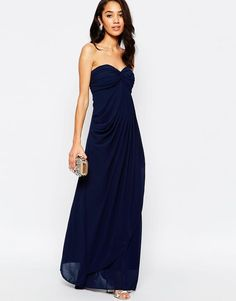 Jarlo Petite | Jarlo Petite Claudia Ruched Bandeau Maxi Dress at ASOS