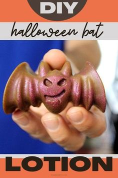 Scare up some spooky body care with this Halloween crafts idea for a bat-shaped DIY solid lotion bar. This easy Halloween solid lotion bar recipe is crafted with exotic body butters and carrier oils for dry skin care. It is simply spook-tacular for dry skin relief and the perfect DIY holiday Halloween gift as we move into fall and colder weather. You can also make these DIY hard lotion bars in Halloween pumpkin shapes. A fun bath and body Halloween crafts project for fall to give as gifts.