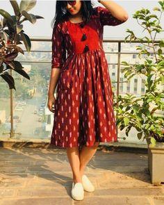 Kalamkari dresses - Maroon And Yellow Hand Woven Ikat Dress Kalamkari Dresses, Ikkat Dresses, Girls Frock Design, Long Dress Design, Indian Designer Outfits, Designer Dresses, Birthday Dress Women, Frock For Women, Women Tunic
