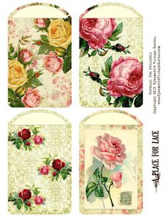 Ephemera's Vintage Garden: Weekly Freebie - Shabby Chic Lace Cards with gorgeous project from the Nickel Nook. Vintage Tags, Vintage Labels, Vintage Ephemera, Decoupage Vintage, Vintage Crafts, Vintage Paper, Printable Labels, Printable Paper, Free Printables