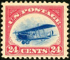 "USA  1918 Scott C3 24c carmine rose & blue ""Curtiss Jenny"""